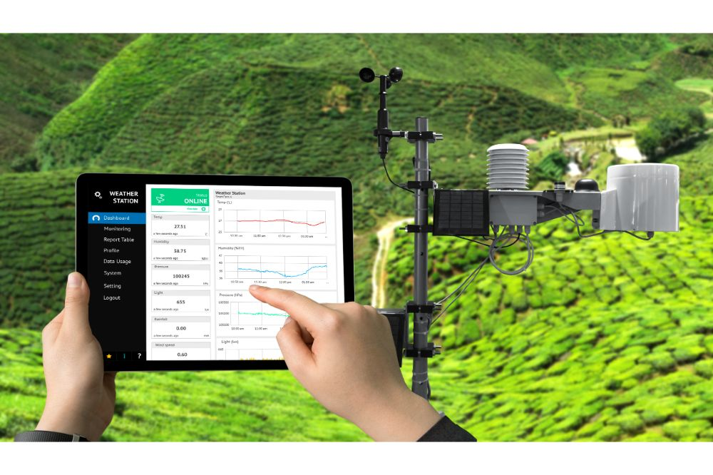 Weather station data logging wireless monitoring , tracking and forecasting temperature , humidity ,light ,wind , rain level with application on tablet screen